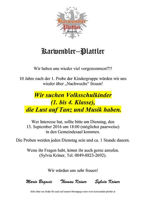Karwendler Plattler suchen Nachwuchs